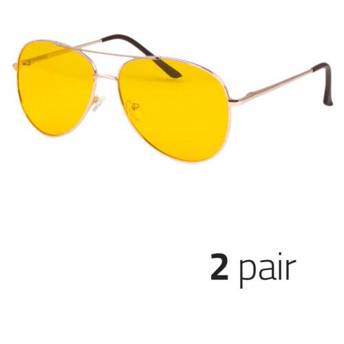 2x HD Vision Polarized Night Driving Sunglasses High Definition Aviator Gold