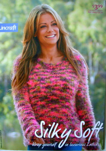 Lincraft Knitting Pattern Pamphlet SILKY SOFT Lady & Girl's Jumper&WrapVest