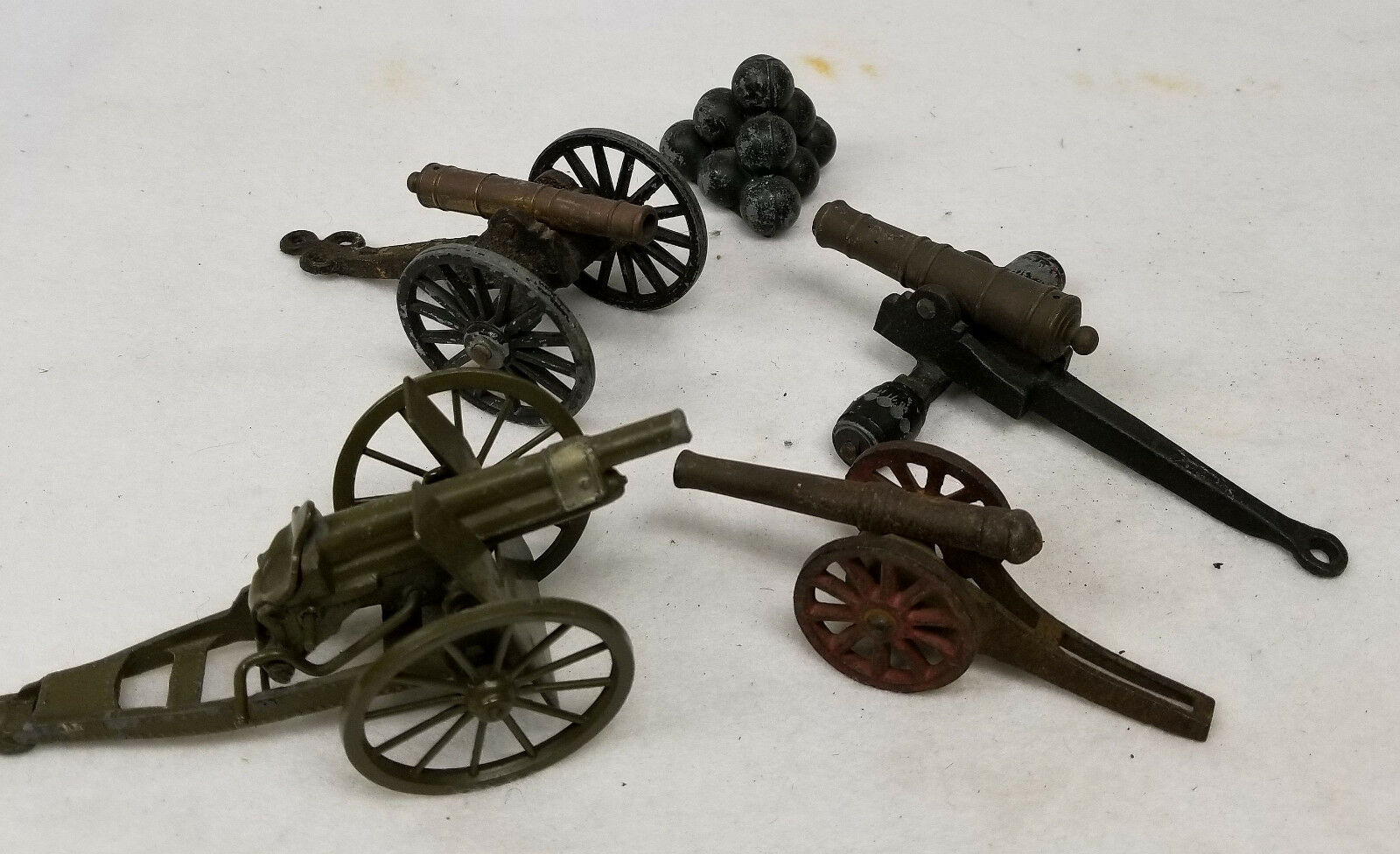 Antique Vintage Lot of Cannon Toys Miniature Models Howitzer Cast Iron