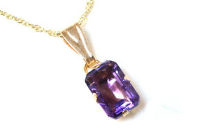 9ct White Gold Amethyst Pendant and chain Gift Boxed Necklace Made in UK