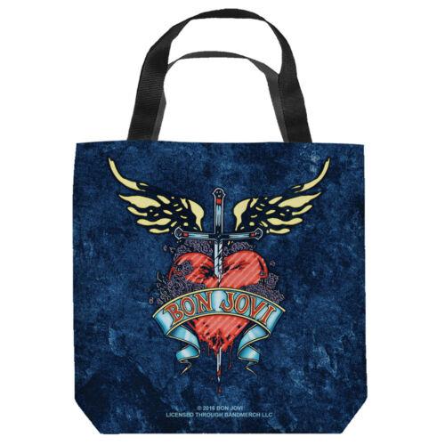 Bon Jovi Rock Band Logo Sword Heart WEATHERED DENIM Tote Bag Many Sizes