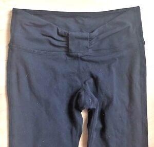 1dd08081d8 LULULEMON BLACK YOGA Straight Leg PANTS size 4 Gather Front Gym Run ...