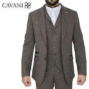 Mens-Cavani-Brown-Tweed-Blazer-Waistcoat-Trouser-3-Piece-Suit-Sold-Separately