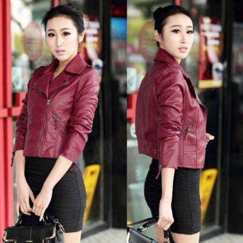 Women Slim Leather Jacket Biker Motorcycle Zipper Short Coat  Punk Outwear S-3XL