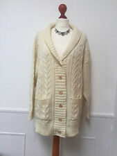 WOOLOVERS Ladies 100% BRITISH WOOL thick - chunky knit cream ARAN  cardigan - XL