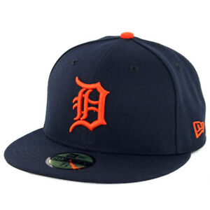 New Era 59Fifty Detroit Tigers ROAD Fitted Hat (Dark Navy) MLB Cap ... 942ee0cf84fd