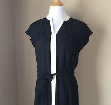 talbots, dress, plus, size 18, white stripe, little black dress, office attire,