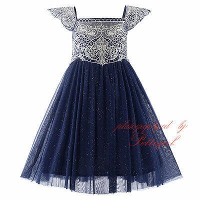 Girls Embroidered Party Dress Glitter Wedding Pageant Party Princess Christening