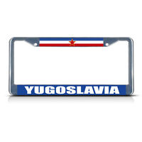 Yugoslavia Flag Metal License Plate Frame Tag Border Two Holes