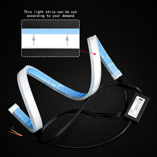 2X 45cm LED Switchback Headlight Sequential DRL Light Strip Tube Blue/&Yellow ZX