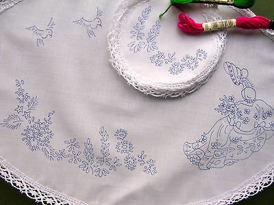 to embroider Dressing Table Chewal Set Lily of the valley flowers cotton CSOO27