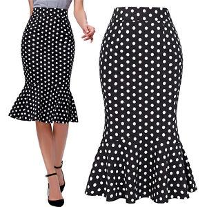 Womens-Vintage-Polka-Dot-High-Waist-Cocktail-Mermaid-Work-Pencil-Midi-Skirt-New