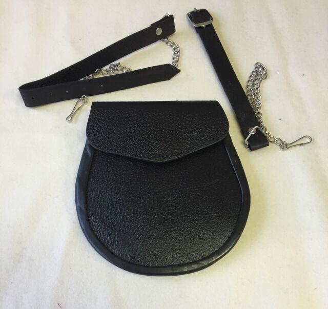 Plain Black Leather Kilt Sporran, Half Dress, Army, Military, Scottish, Chain