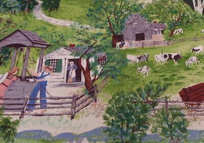 Grandma Moses At The Well Bark Cloth Rare New Old Stock Vintage Grandma Moses,