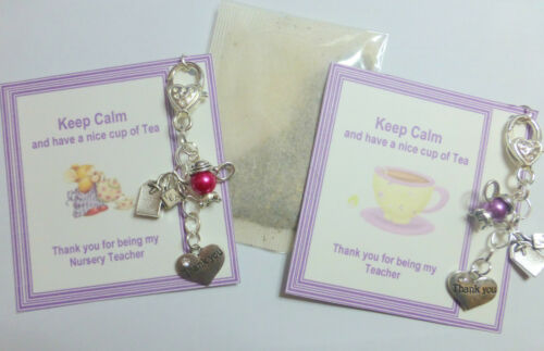 Keep Calm Drink Cup of Tea Bag Charm Keyring Thank You Gift Best Friend Mother