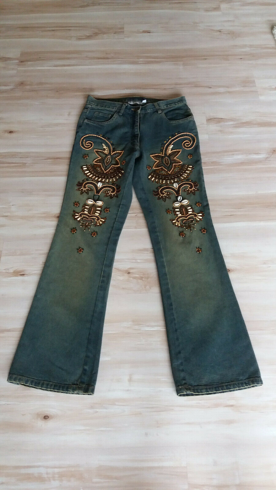 Jeans with Beaded Embroidery Unique