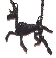 UNICORN SKELETON NECKLACE dainty prancing horse mythical gothic punk skull 3G