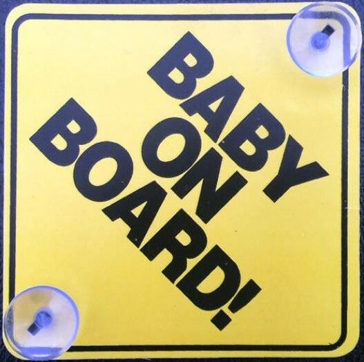 2pc Yellow Baby on Board PlasticSafe Sign with Stay-put Suction Cups Brand New