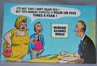 Vintage 1970s Bamforth Comic Postcard Series No 015 Marriage Guidance Bureau Fun