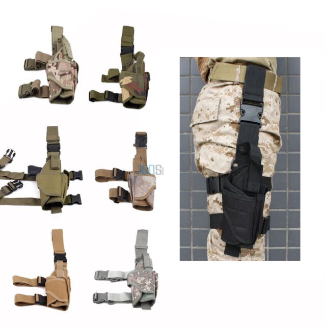 Adjustable Tactical Pistol/Gun Drop Leg Thigh Holster w/ Mag Pouch Right Hand