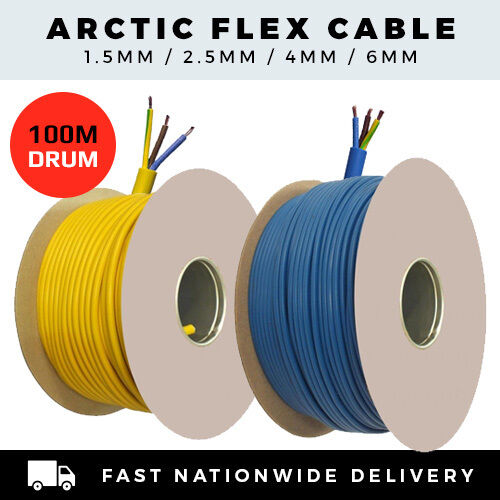 1.5MM 6MM 3 CORE BLUE YELLOW EXTENSION LEAD CABLE 3183A ARCTIC FLEX PER 100M