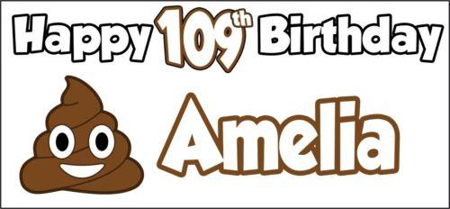 Emoji Poo à Thème Personnalisé Anniversaire Bannière X 2 Décorations de Fête-Nom et âge
