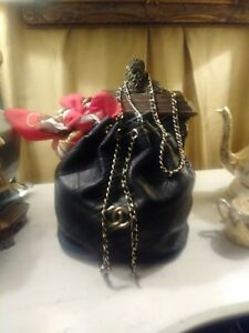 Chanel-Black-Drawstring-Bucket-Handbag-Authentic