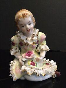 Victorian Style Boy /& Girl Statues Bone China Lace