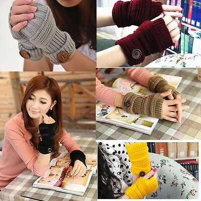 Women Winter Wrist Arm Hand Warmer Knitted Long Fingerless Gloves Mittens