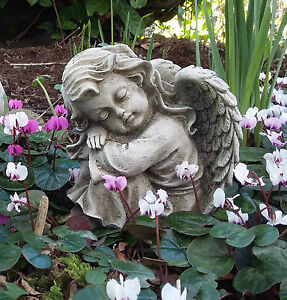 Image Is Loading STONE GARDEN SLEEPING ANGEL GIRL CHILD CHERUB MEMORIAL