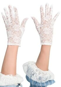womens ladies fancy dress costume accessory WHITE SHORT FINGERLESS LACE GLOVES