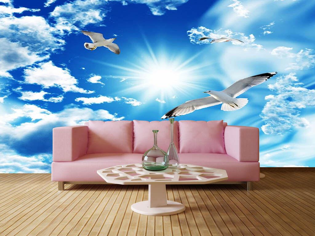 Sun Under Blau Sky 3D Full Wall Mural Photo Wallpaper Printing Home Kids Decor