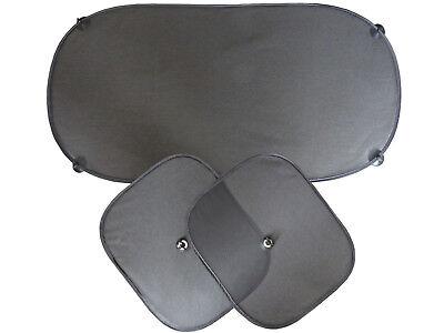 3tlg Auto-Sonnenschutz für Seiten und Hintenscheiben mit Saugnapf Schwarz