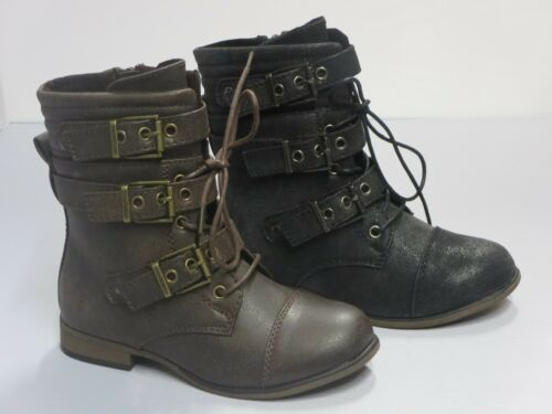 chapter36k Girl Buckle Boots Kids Size Moto Biker Boots Black Brown Ankle