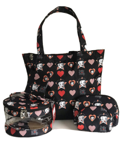 Large Tote w//Coin Purse 3 Pcs Travel Make Up Bags Details about  /BETTY BOOP Set Black NWT