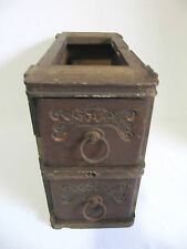 ANTIQUE TREADLE SEWING MACHINE DESK DRAWERS WOODEN FILE - 2 DRAWERS