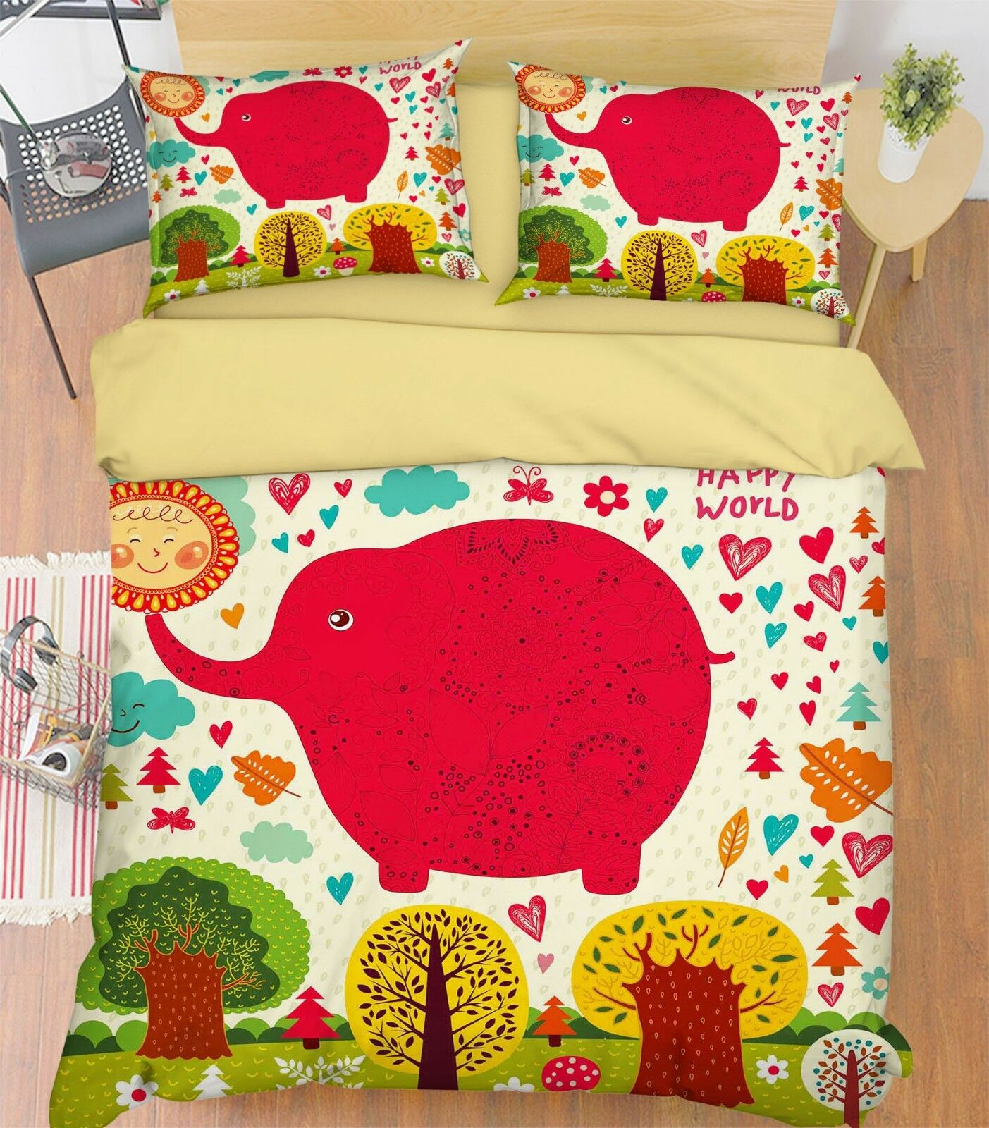 3D Paint Elephant 678 Bed Pillowcases Quilt Duvet Cover Set Single King UK Lemon