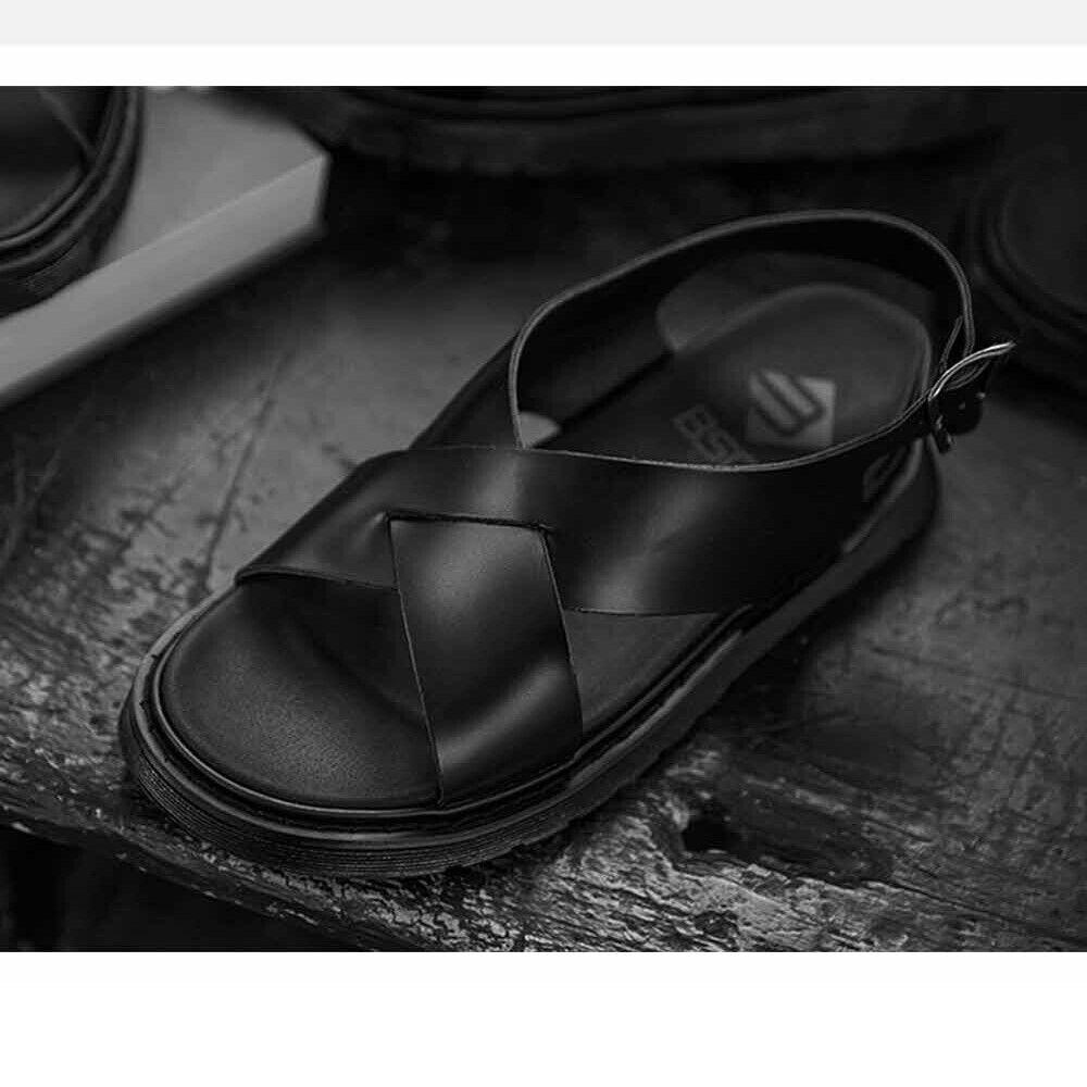 BSQT 431 Summer Beach Men Flat Wedge Sandals Thong Flip Flops Leather Slippers