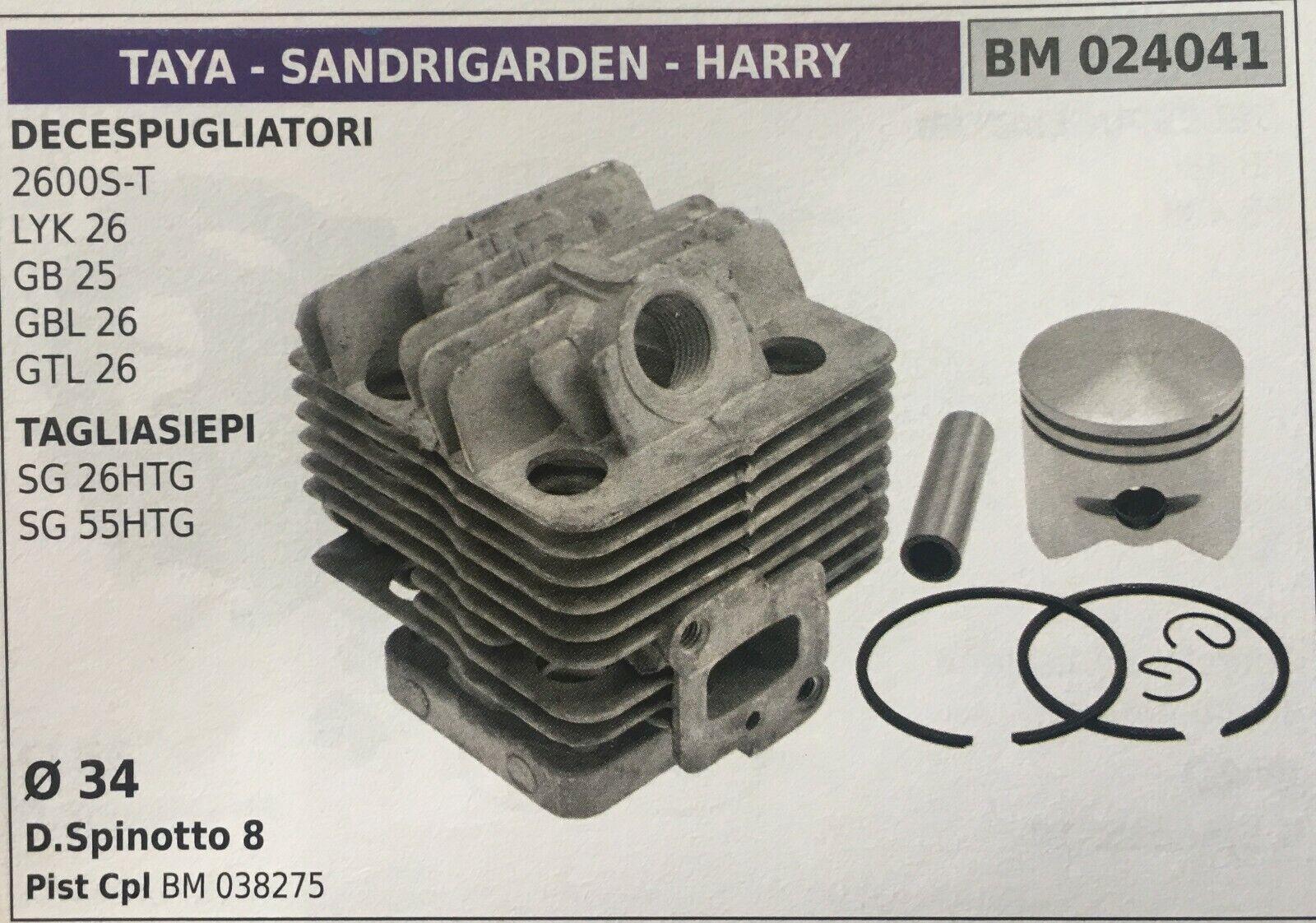 CILINDRO COMPLETO DI PISTONE E SEGMENTI BRUMAR BM024041 TAYA-SANDRIGARDEN-HARRY