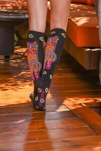 768bf6332b9 Laurel Burch K.Bell Tall Cats Black Sublimated Knee High Socks ...