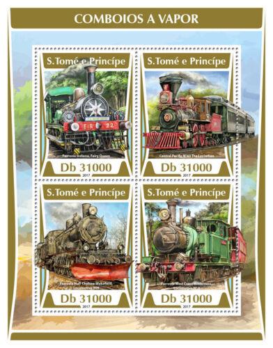 Sao Tome & Principe 2017 MNH Steam Trains 4v M/S Train Railways Rail Stamps