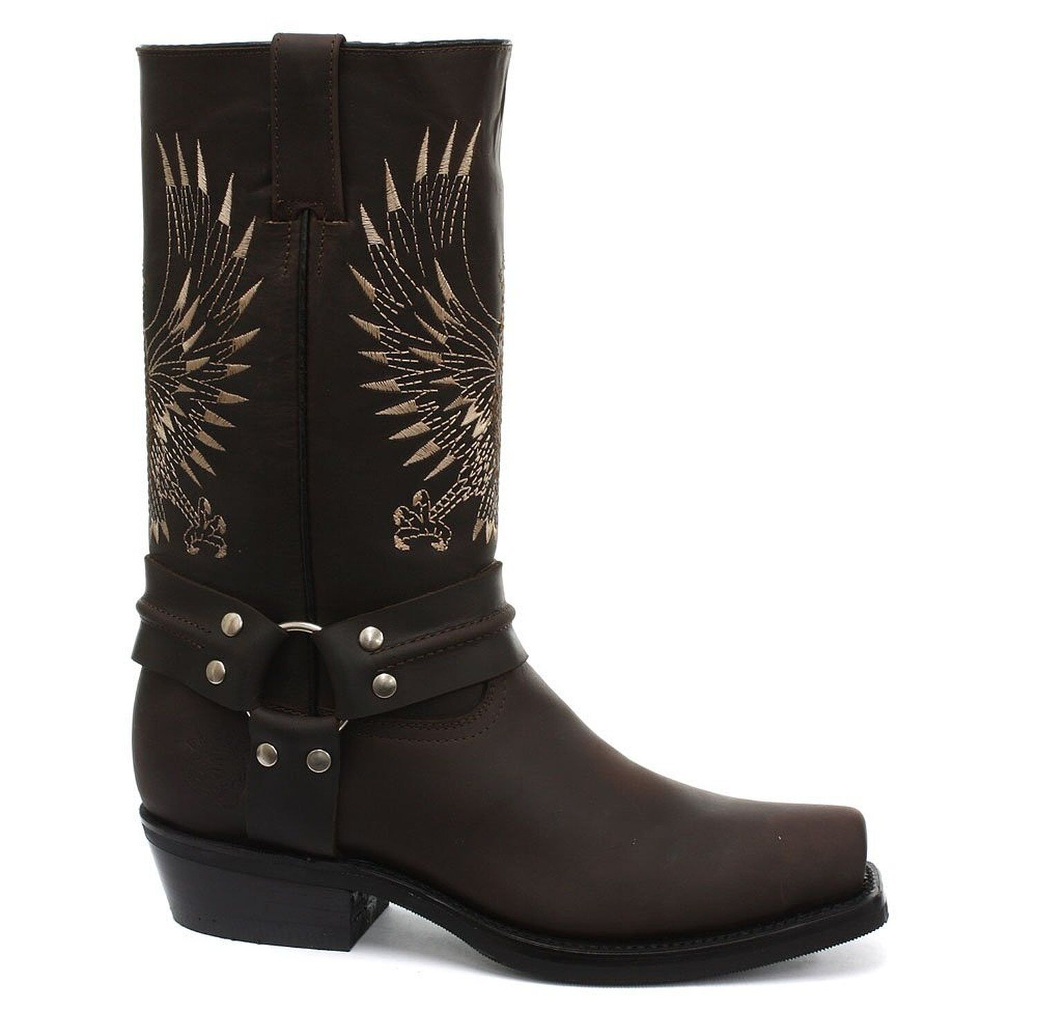 Grinders Bald Eagle braun Leather Cowboy Stiefel Slip On Square Toe Front Stiefel