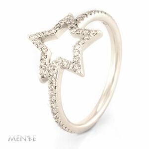 Details zu Ring Stern Star by Menze 750 Weißgold 57 Brillanten 0,266 ct Gr 53 (21112)