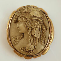 Finest Quality Antique Victorian Lava Cameo of a Bacchante c1875 in Gold Mount