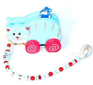 Holzspielzeug Ziehtier Katze und Maus