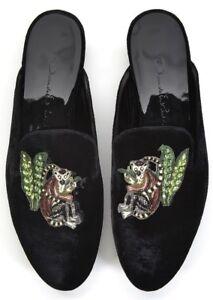 590 NEW Oscar de la Renta EDEN Black Mules Embroidered Velvet ... 61e356b351