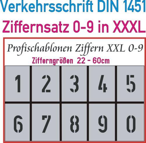 Fahrbahnmarkierung Straßenmarkierung Zahlen Verkehrsschrift DIN 1451 in 22-60cm