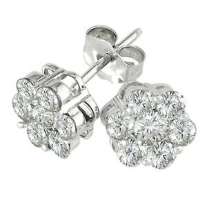 2CT-WOMENS-UNIQUE-14K-WG-WHITE-SAPPHIRE-CLUSTER-ROUND-STUD-PUSH-BACK-EARRINGS