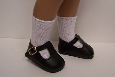 "BLACK Solid T-Strap Tstraps Doll Shoes 16/"" 17/"" Sasha Debs"