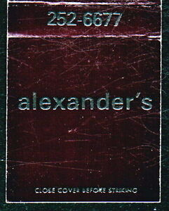 TIMONIUM-MD-Alexander-039-s-Vintage-Black-Match-Book-Cover-Old-Maryland-Advertising
